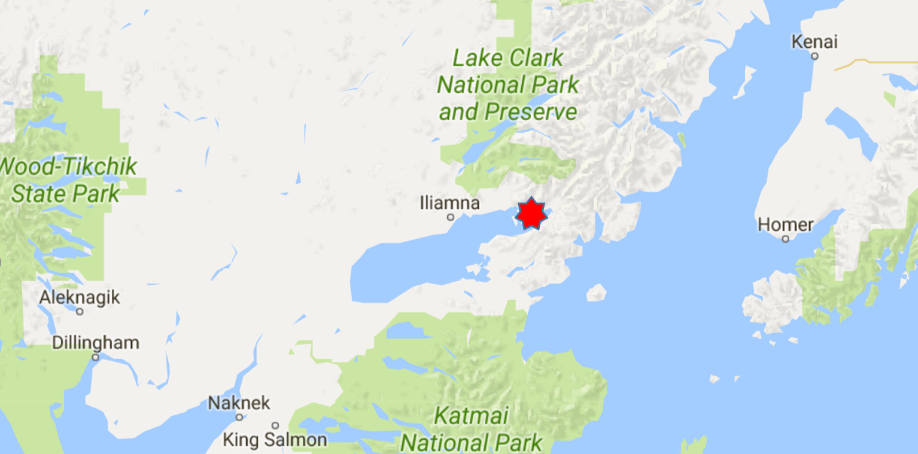 Location of Iliamna River Lodge, Alaska